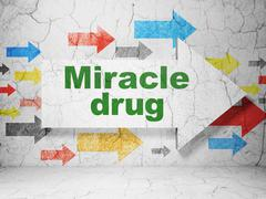 Healthcare concept: arrow with Miracle Drug on grunge wall background - stock illustration