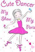 Illustration of a happy little fairy ballerina Stock Illustration