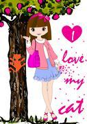 Kidsgirl tee graphic Stock Illustration