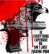 Eagle slogan poster graphic design - stock illustration