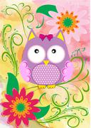 Stock Illustration of Vector illustration with owl and flowers