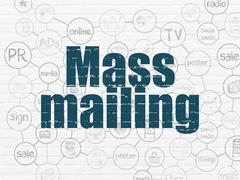 Advertising concept: Mass Mailing on wall background Stock Illustration