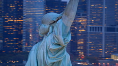Statue of Liberty at dusk, closeup aerial shot Arkistovideo