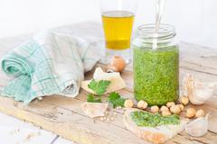 Parsley Pesto Condiment Stock Photos