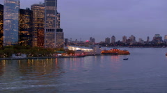 Aerial view of downtown Manhattan and Staten Island ferry Stock Footage