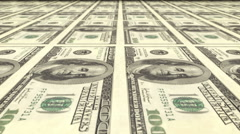 US one hundred dollar bills roll out of printing press - stock footage