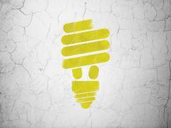 Finance concept: Energy Saving Lamp on wall background - stock illustration