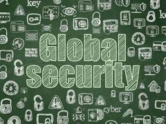 Privacy concept: Global Security on School board background Stock Illustration