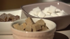 White & brown sugar and candy Stock Footage