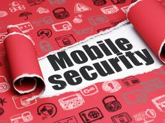 Safety concept: black text Mobile Security under the piece of  torn paper Stock Illustration