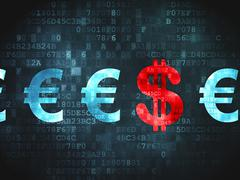 Currency concept: Dollar And Euro on digital background - stock illustration