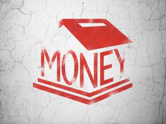 Money concept: Money Box on wall background Stock Illustration