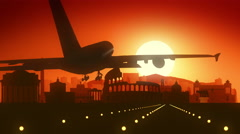 Rome Italy Airplane Landing Skyline Golden Background Stock Footage