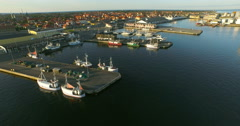 Skagen Harbour,Denmark, aerial from drone 4K Stock Footage