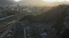 Flying above the city with view of Shanty Town on the hill Stock Footage