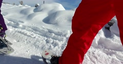 close up legs snowshoeing in winter, side view - stock footage