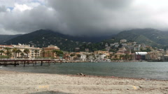 Rapallo seen from the coast Stock Footage