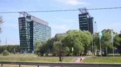 Two modern highrise buildings of Khimki Business Park Stock Footage