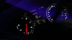 Dashboard instruments lightning up upon ignition Stock Footage