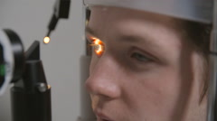 Doctor examinating man's vision Stock Footage