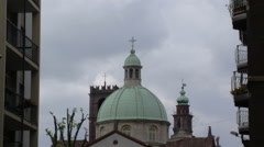 View of Cathedral Dome and Bramante Tower, Vigevano, PV, Italy Stock Footage