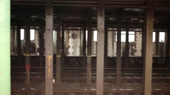 Leaving train and people at NYC subway station Columbus Circle Stock Footage