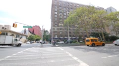 Traffic at intersection of 79-th street and Broadway Stock Footage