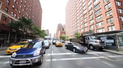 Cars at intersection of 79-th street and Amsterdam avenue Stock Footage