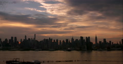 A wide view of the Manhattan Skyline early morning over the Hudson River. Stock Footage