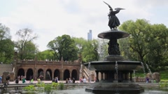 Bethesda Terrace with Bethesda Fountain with famous Angel Stock Footage