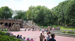 Bethesda Terrace with Bethesda Fountain and famous Angel Stock Footage