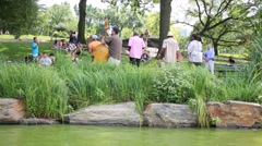 People listen to musical quarter near pond in Central Park Stock Footage