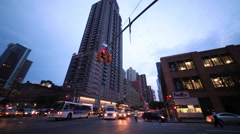 Car traffic in the evening at crossroad in NYC. Stock Footage