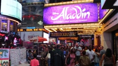 Illuminated advertising on Broadway in the evening time. Stock Footage