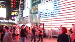 People walk in pedestrian zone of Broadway in the evening time. Stock Footage