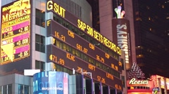 Morgan Stanley Building with illuminated advertising Stock Footage