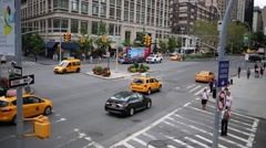 Daytime cars traffic at crossing of 65th street and Broadway. Stock Footage