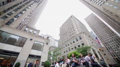 Highrise buildings of Rockefeller Center at Rockefeller Plaza. Stock Footage