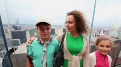 Mother with two children at Observation Deck Top Stock Footage