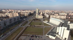 Avenue Veteranov and building of City Oncological Center, St. Petersburg, Russia Stock Footage