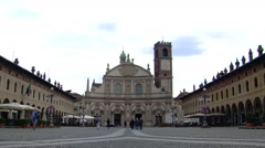 View of Vigevano Cathedral from Piazza Ducale, Vigevano, PV, Italy Stock Footage