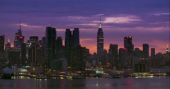 Purple Manhattan Skyline Stock Footage
