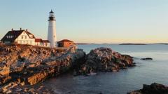 Portland Head Light sunrise, Cape Elizabeth, Maine Stock Footage