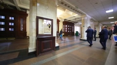 People walk through foyer at Bauman Moscow State Technical University Stock Footage