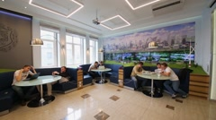 Students at tables in cafe in Bauman Moscow State Technical University Stock Footage