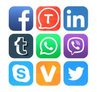 Collection of popular social networking icons Kuvituskuvat