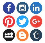Kiev, Ukraine - March 18, 2016: Collection of popular round social media logo Stock Photos