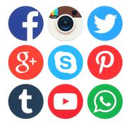 Kiev, Ukraine - March 23, 2016: Collection of popular round social media logo Stock Photos