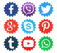 Collection of popular social media logos - stock photo