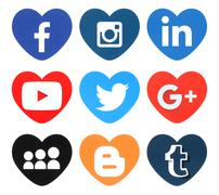 Collection of popular heart shape social media logos - stock photo